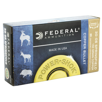 Federal PowerShok, 30-06, 150 Grain, Copper, Lead Free, 20 Round Box 3006150LFA, UPC :604544617375