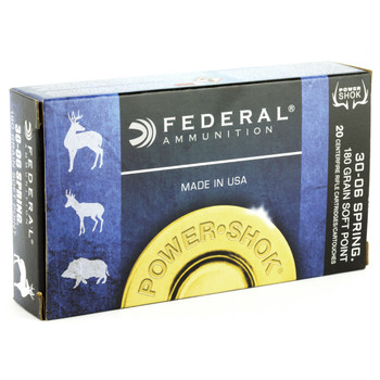 Federal PowerShok, 30-06, 180 Grain, Soft Point, 20 Round Box 3006B, UPC : 029465084585