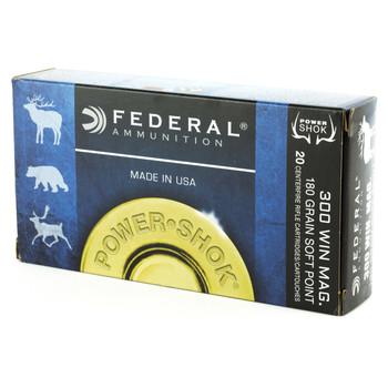 Federal PowerShok, 300WIN, 180 Grain, Soft Point, 20 Round Box 300WBS, UPC : 029465091415