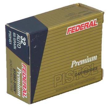 Federal Hydra-Shok, 32ACP, 65 Grain, Hollow Point, 20 Round Box P32HS1, UPC : 029465091965