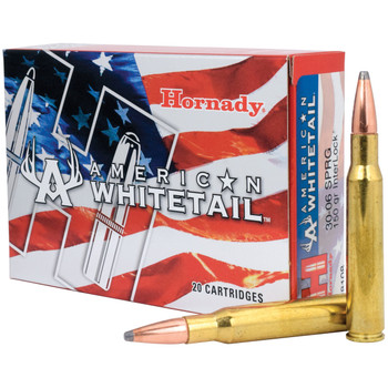 Hornady American Whitetail, 30-06, 150 Grain, Interlock Soft Point, 20 Round Box 8108, UPC : 090255381085