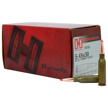 Hornady Varmint Express Ammunition, 545X39, 60 Grain, V-Max, Steel Case, 50 Round Box 8124, UPC : 090255381245