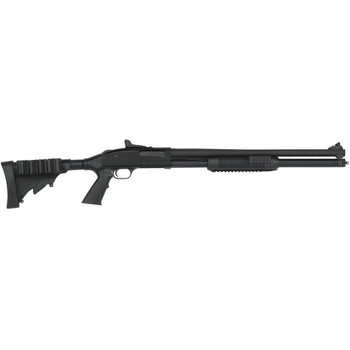 "Mossberg 500 Tactical Tri-Rail, Pump Action Shotgun, 12 Gauge, 3"" Chamber, 20"" Cylinder Barrel, Matte Blue Finish, Collapsible Stock with Side Saddle, Ghost Ring Sights, 7Rd 50589, UPC : 015813505895"