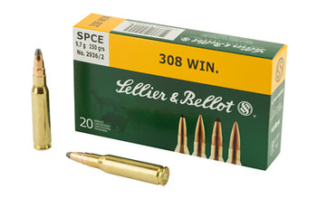 Sellier & Bellot Rifle, 308 Win, 150 Grain, Soft Point Cutting Edge, 20 Round Box SB308D, UPC :754908512225