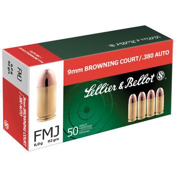 Sellier & Bellot Pistol, 380ACP, 92 Grain, Full Metal Jacket, 50 Round Box SB380A, UPC :754908500055