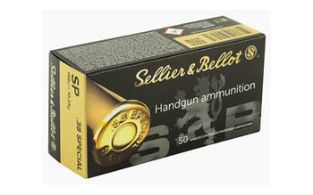 Sellier & Bellot Pistol, 38 Special, 158 Grain, Soft Point, 50 Round Box SB38C, UPC :754908500475