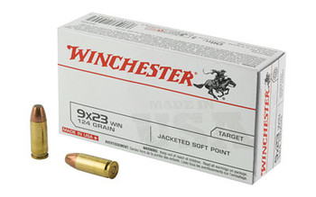 Winchester Ammunition USA, 9X23 WIN, 124 Grain, Jacket Flat Point, 50 Round Box Q4304, UPC : 020892210905
