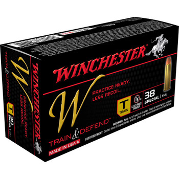 Winchester Ammunition W - Train & Defend, 38 Special, 130 Grain, Full Metal Jacket, Low Recoil, 50 Round Box W38SPLT, UPC : 020892220515