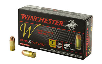 Winchester Ammunition W - Train & Defend, 45 ACP, 230 Grain, Full Metal Jacket, Low Recoil, 50 Round Box W45T, UPC : 020892221635