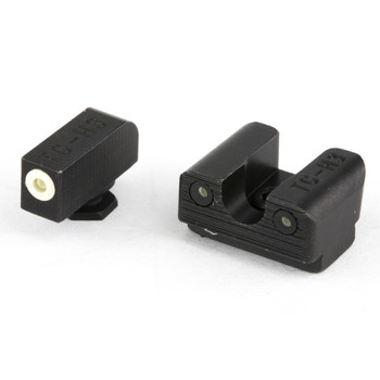 Truglo Tritium Pro Sight, Fits Glock 42/43, Large White Focus-Lock Ring on Front Sight  U-Notch Rear Sight, White Dots in Light  Green Dots at Night TG231G1AW, UPC :788130023785