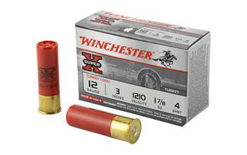 """Winchester Ammunition Super-X, 12 Gauge, 3"""", #4, 1.875 oz., Shotshell, 10 Round Box X123MT4, UPC : 020892011175"""