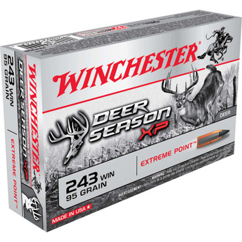 Winchester Ammunition Deer Season, 243 Win, 95 Grain, Extreme Point Polymer Tip, 20 Round Box X243DS, UPC : 020892221475