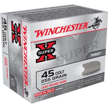 Winchester Ammunition Super-X, 45LC, 255 Grain, Lead Round Nose, 20 Round Box X45CP2, UPC : 020892201705