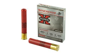 "Winchester Ammunition Super-X, 410 Gauge, 3"", Buckshot, 5 Pellets,5 Round Box XB413, UPC : 020892016415"