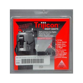 Trijicon Tritium Night Sight, Fits HK USP Compact, Green/Green, 3 Dot HK08, UPC :719307201095