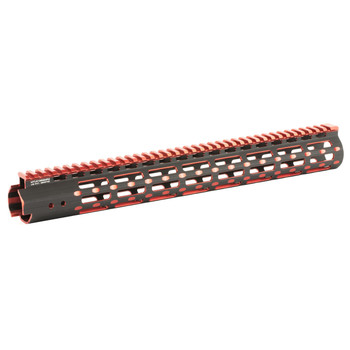 "Leapers, Inc. - UTG UTG PRO, M-Lok Super Slim Free Floating Rail, Black/Red 2-Tone, Fits AR-15, 15"", Includes One M-Lok Picatinny Rail Section One M-Lok QD Sling Swivel Adaptor and Barrel Nuth Wrench MTU019SSMR2, UPC :4717385552715"