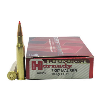 Hornady Superformance SST Ammunition 7x57mm Mauser (7mm Mauser) 139 Grain SST Box of 20, UPC : 090255815535