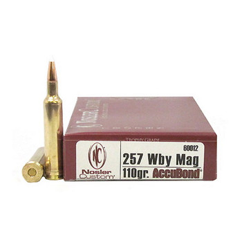 Nosler Trophy Grade Ammunition 257 Weatherby Magnum 110 Grain AccuBond Spitzer Box of 20, UPC : 054041600125