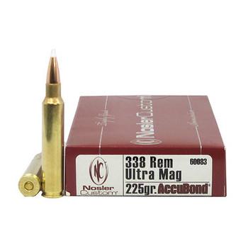 Nosler Trophy Grade Ammunition 338 Remington Ultra Magnum 225 Grain AccuBond Box of 20, UPC : 054041600835