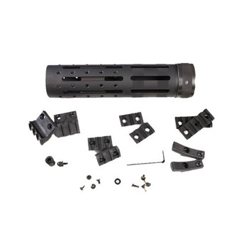 AR-15/M-16 Knurled Aluminum 8  OAL 3 Gun Free Float Forend Extension with Accessory Attachments, UPC :743108150665