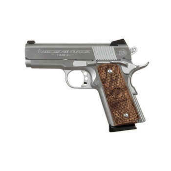 "American Classic 1911, Officers, 45ACP, 3.5"" Barrel, Chrome Finish, Plastic Grips, Fixed Sights, 1 Magazine, 7 Rounds ACA45C, UPC :728028073393"