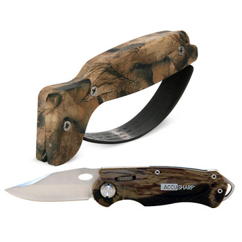 AccuSharp Model 042C, Folding Knife, Camo Grip, Stainless Steel Blade, Includes SharpNEasy Tool Sharpener 042C, UPC : 015896000423