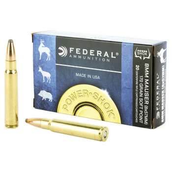 Federal PowerShok, 8MM Mauser, 170 Grain, Soft Point, 20 Round Box 8A, UPC : 029465084813