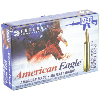 Federal American Eagle, 223 Rem, 55Gr, Full Metal Jacket Boat Tail, Lake City, 20 Round Box AE223J, UPC : 029465062323