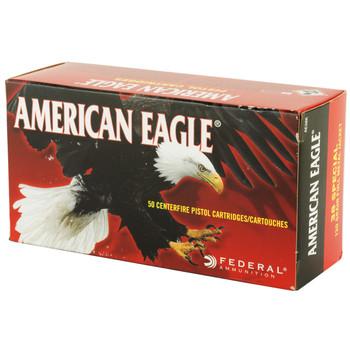 Federal American Eagle, 38 Special, 130 Grain, Full Metal Jacket, 50 Round Box AE38K, UPC : 029465091903
