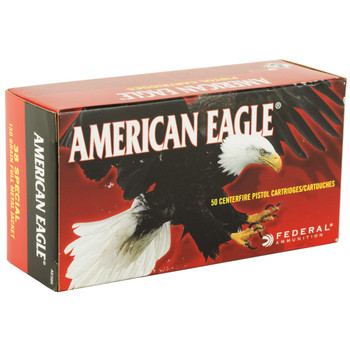 Federal American Eagle, 38 Special, 130 Grain, Full Metal Jacket, 50 Round Box AE38K, UPC : 029465091903