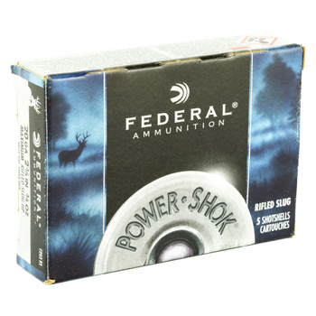 "Federal PowerShok, 20 Gauge, 2.75"", .75oz., Rifled Hollow Point Slug, 5 Round Box F203RS, UPC : 029465009953"