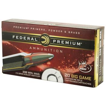 Federal Vital-Shok, 338 WIN MAG, 210 Grain, Nosler Partition, 20 Round Box P338A2, UPC : 029465084783