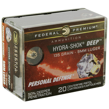 Federal Hydra-Shok Deep 9MM 135Gr Hollow Point 20 200 P9HSD1, UPC :604544637083