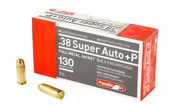 Aguila Ammunition Pistol, 38 Super AUTO + P, 130Gr, Full Metal Jacket, 50 Round Box 1E382112, UPC :640420003153
