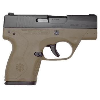 "Beretta NANO, Striker Fired, Sub Compact, 9MM. 3.07"" Barrel, Polymer Frame, Flat Dark Earth Finish, 3 Dot Sights, 1-6Rd & 1-8Rd, Magazines JMN9S55, UPC : 082442719283"