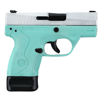 "Beretta NANO, Semi-automatic, Striker Fired, Sub Compact, 9MM, 3.07"", Polymer, Robin's Egg Blue, 6Rd & 8Rd, 2 Mags, 3 Dot JMN9S75, UPC : 082442886923"