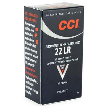 CCI/Speer 22LR, 40 Grain, Segmented Hollow Point, Sub-Sonic 50 Round Box 74, UPC : 076683000743