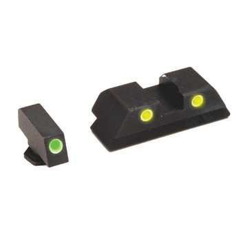 AmeriGlo Classic Series 3 Dot Sights for Glock 17,19,22,23,24,26,27,33,34,35,37,38,39, Green Front, Yellow Rear, Front and Rear Sights GL-115, UPC :644406900313