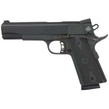 "Armscor Rock Island 1911, Full Size, 9MM, 5"" Barrel, Steel Frame, Parkerized Finish, Black Finish, Rubber Grips, Fixed Sights, 9Rd, Fired Case 51632, UPC :4806015516323"