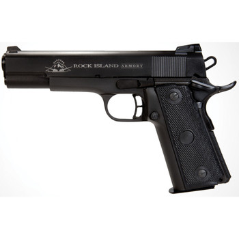 """Armscor Rock Island 1911, Full Size Pistol, 22TCM and 9MM, 5"""", Alloy Frame, Parkerized Finish, Plastic Grips, Fixed Sights, 17Rd, Convertible kit for 9mm and 22TCM, with Fired Case 51687, UPC :4806015516873"""