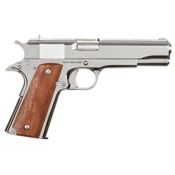 "Armscor Rock Island 1911, Full Size, 38 Super, 5"" Barrel, Steel Frame, Nickel Finish, Wood Grips, Fixed Sights, 9Rd, 1 Magazine, Fired Case 51814, UPC :4806015518143"