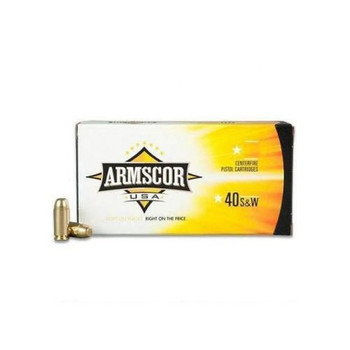 Armscor 40 S&W, 180 Grain, Jacketed Hollow Point, 20 Round Box AC40-3N, UPC :812285021843