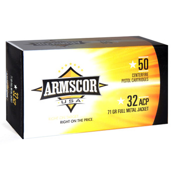 Armscor 32ACP, 71 Grain, Full Metal Jacket, 50 Round Box FAC32ACP-1N, UPC :812285022543