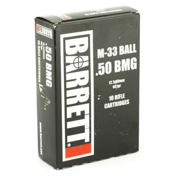 Barrett Ammo, 50BMG, 661Gr, Full Metal Jacket, 10 Rounds per Box, 2,750fps 14670, UPC :816715015723