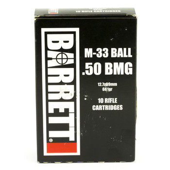 Barrett Ammo, 50BMG, 661Gr, Full Metal Jacket, 10 Rounds per Box, 2,750fps 14670, UPC :816715015723