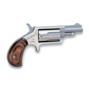 """North American Arms Mini Revolver, Single Action, 22WMR, 1.625"""" Barrel, Steel Frame, Stainless Finish, Wood Grips, Fixed Sights, 5Rd NAA-22M, UPC :744253000133"""
