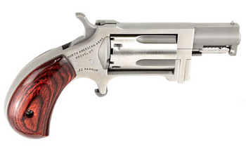 """North American Arms Mini Revolver Sidewinder, Micro Compact, 22WMR, 1"""" Barrel, Steel Frame, Stainless Finish, Wood Grips, Fixed Sights, 5Rd, Swing-out Style Cylinder Assembly Creates an Easier Process of Loading and Unloading NAA-SW, UPC :74425300253"""