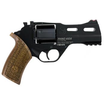 "Chiappa Firearms Rhino 40DS Revolver, DA/SA, 9MM, 4"" Barrel, Alloy, Black Finish, Walnut Grips, 6Rd, 3 Moon Clips, Fiber optic Front Sight, Adjustable Rear Sight 340-165, UPC :8053670717343"