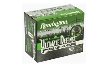Remington Ultimate Defense, 45 ACP+P, 185 Grain, Brass Jacketed Hollow Point, 20 Round Box 28973, UPC : 047700472003