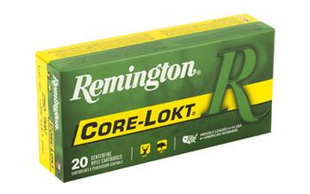 Remington Core Lokt, 250 Savage, 100 Grain, Pointed Soft Point, 20 Round Box 29077, UPC : 047700052403